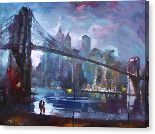 Bridge Canvas Print - Romance By East River II by Ylli Haruni