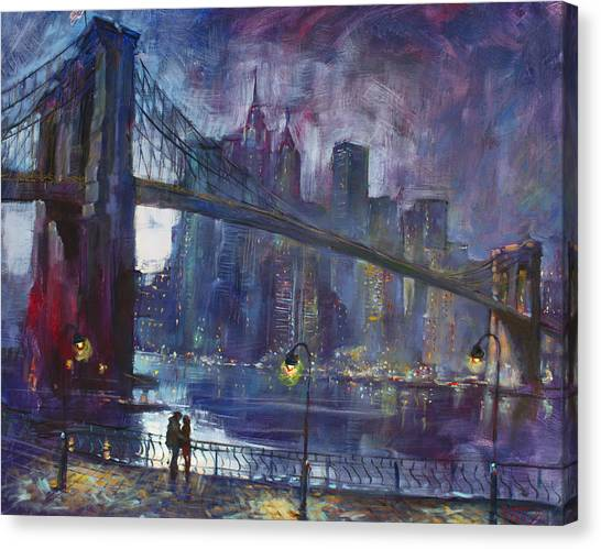 City Landscape Canvas Print - Romance By East River Nyc by Ylli Haruni