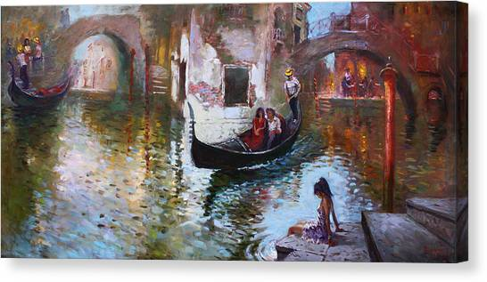 City Landscape Canvas Print - Romance In Venice 2013 by Ylli Haruni