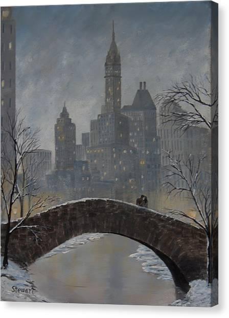 Romance On Gapstow Bridge Canvas Print
