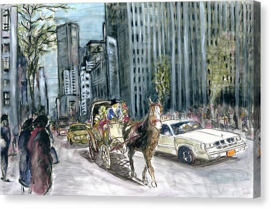 New York 5th Avenue Ride - Fine Art Painting Canvas Print