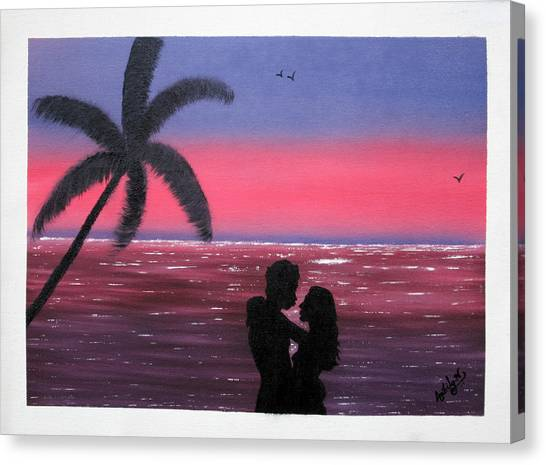 b405d1361ae Romantic Couple At Sunset Canvas Print by Ambily N