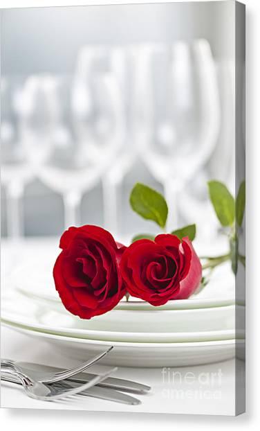 Dinner Table Canvas Print - Romantic Dinner Setting by Elena Elisseeva