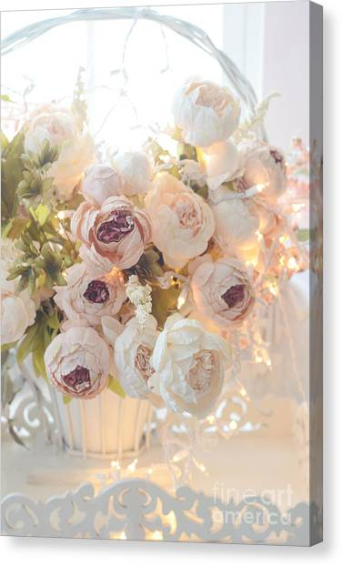 Impressionistic Canvas Print - Romantic Shabby Chic Dreamy Pink And White Peonies - Shabby Chic Peonies In Basket by Kathy Fornal