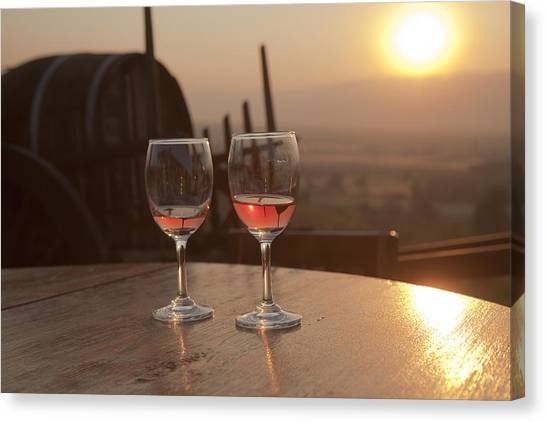 Romantic Sunset With A Glass Of Wine Canvas Print