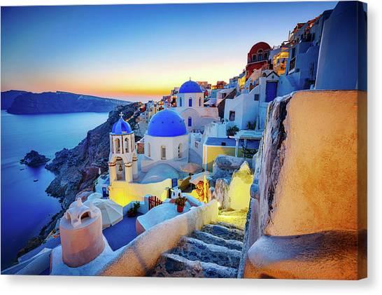 Romantic Travel Destination Oia Canvas Print