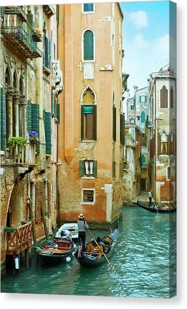 Romantic Venice Views From Gondola Canvas Print by Caracterdesign