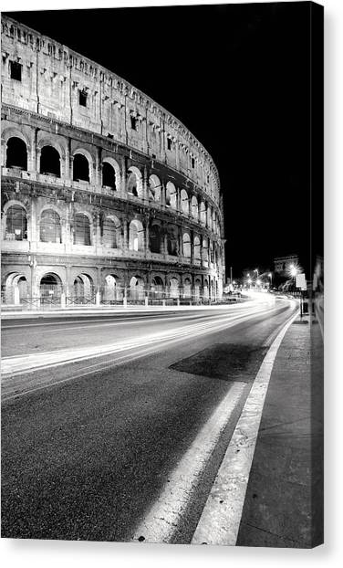 Night Lights Canvas Print - Rome Colloseo by Nina Papiorek