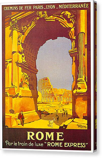 The Colosseum Canvas Print - Rome Express 1921 by Roger Borders
