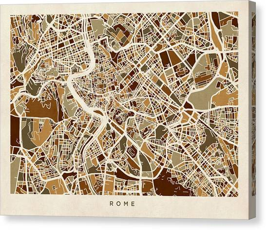 Rome Canvas Print - Rome Italy Street Map by Michael Tompsett