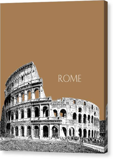 Rome Canvas Print - Rome Skyline The Coliseum - Brown by DB Artist