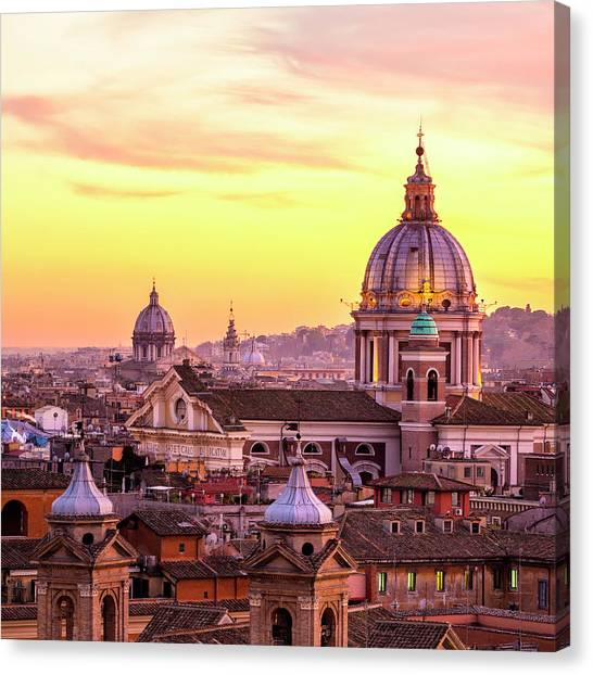 Rome Skyline With Church Cupolas, Italy Canvas Print by Romaoslo