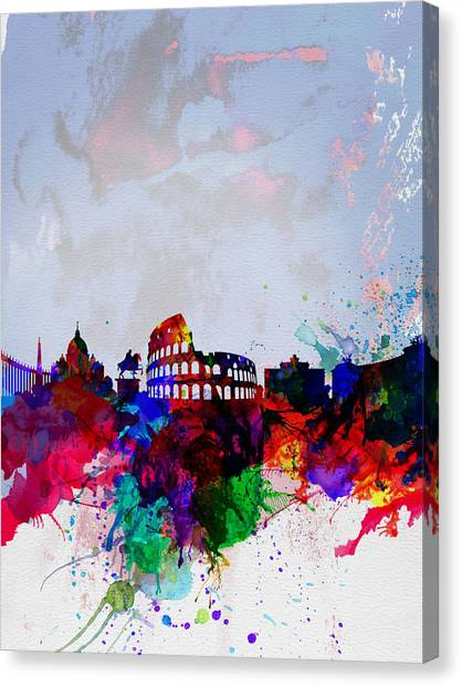 Italian Landscape Canvas Print - Rome Watercolor Skyline by Naxart Studio