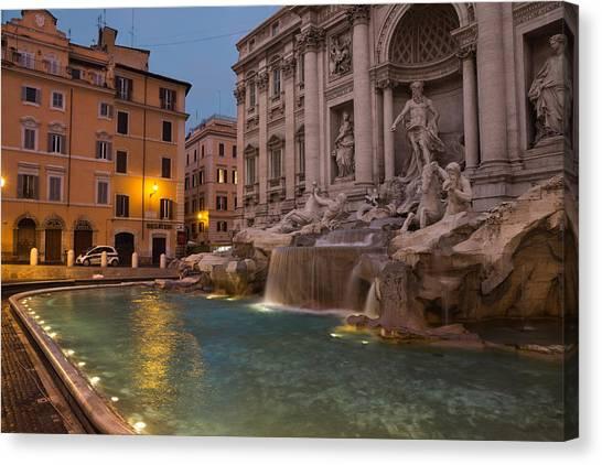 Rome's Fabulous Fountains - Trevi Fountain At Dawn Canvas Print