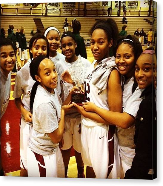 High School Canvas Print - #romulus #eagles #girls #basketball by Jim Jones