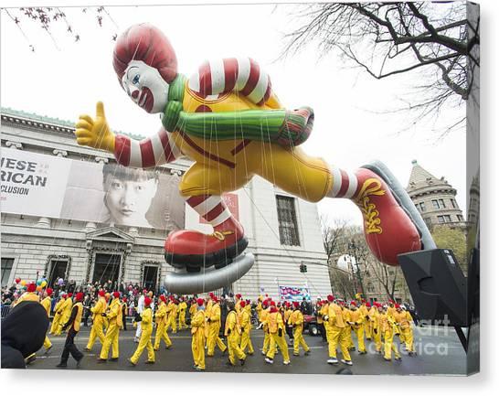Macys Parade Canvas Print - Ronald Mcdonald Balloon At Macy's Thanksgiving Day Parade by David Oppenheimer