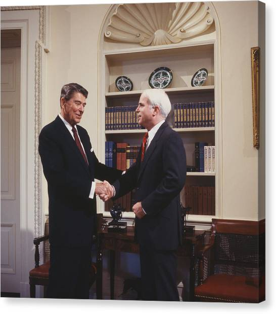 Republican Politicians Canvas Print - Ronald Reagan And John Mccain by Carol Highsmith