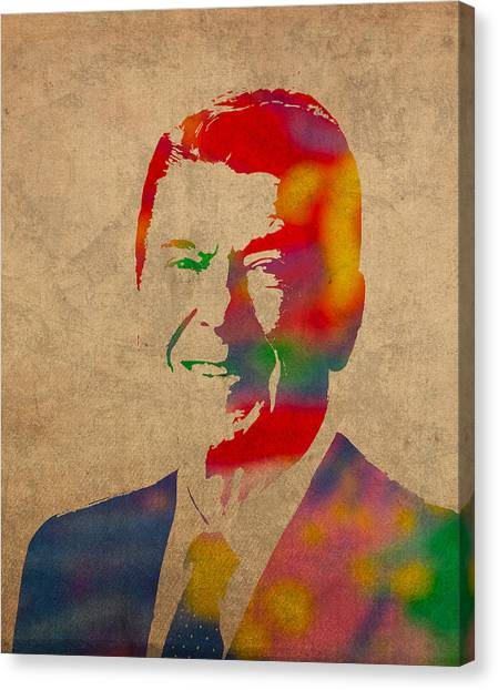 Ronald Reagan Canvas Print - Ronald Reagan Watercolor Portrait On Worn Distressed Canvas by Design Turnpike