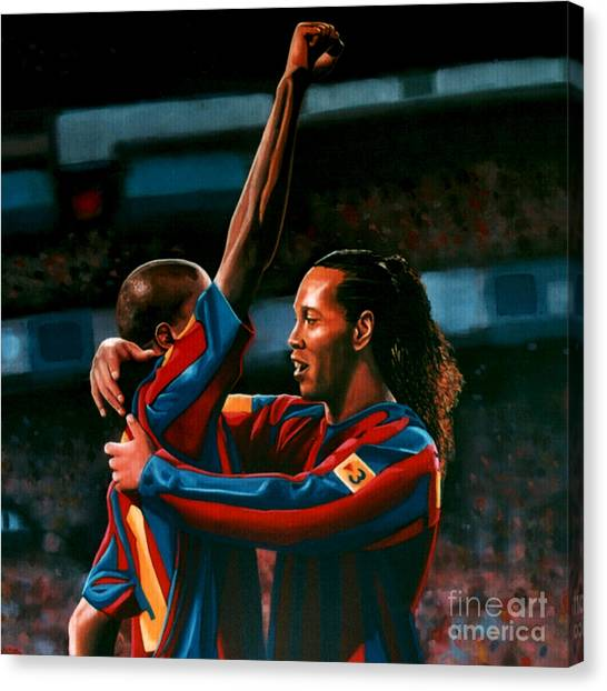 Goal Canvas Print - Ronaldinho And Eto'o by Paul Meijering