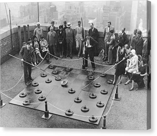 Ted Canvas Print - Rooftop Giant Checkers Game by Underwood Archives