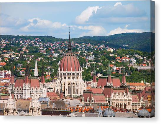 Parliament Hill Canvas Print - Rooftop Of Parliament Building In Budapest by Artur Bogacki