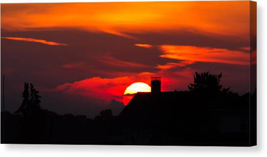 Rooftop Sunset Silhouette Canvas Print