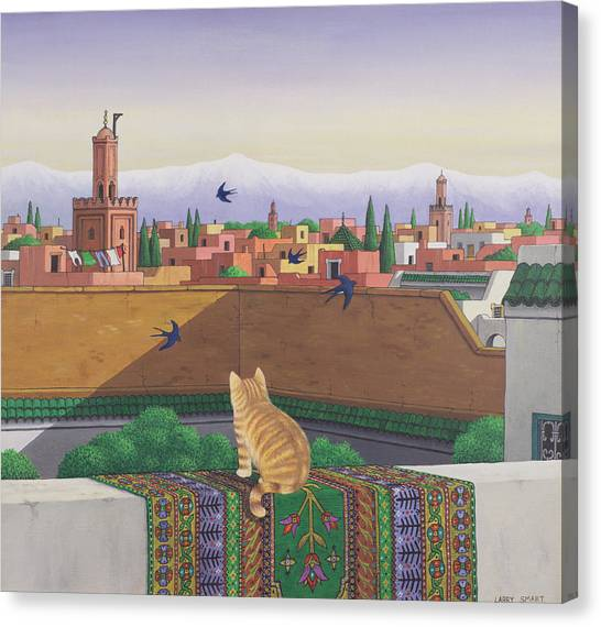 Swallow Canvas Print - Rooftops In Marrakesh by Larry Smart