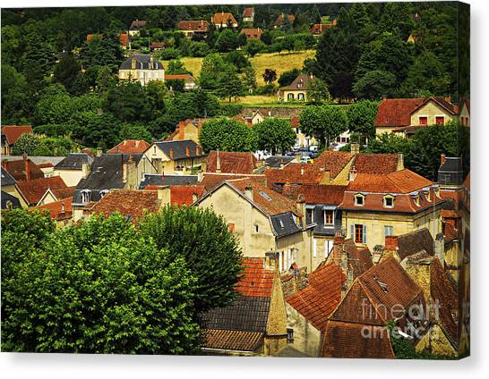 Shingles Canvas Print - Rooftops In Sarlat by Elena Elisseeva