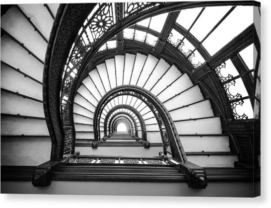 Rookery Building Oriel Staircase - Black And White Canvas Print
