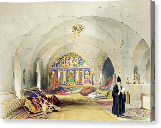Priests Canvas Print - Room In An Armenian Convent by A. Margaretta Burr
