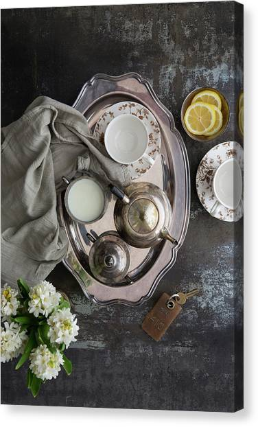Room Service, Tea Tray With Milk And Canvas Print by Pam Mclean