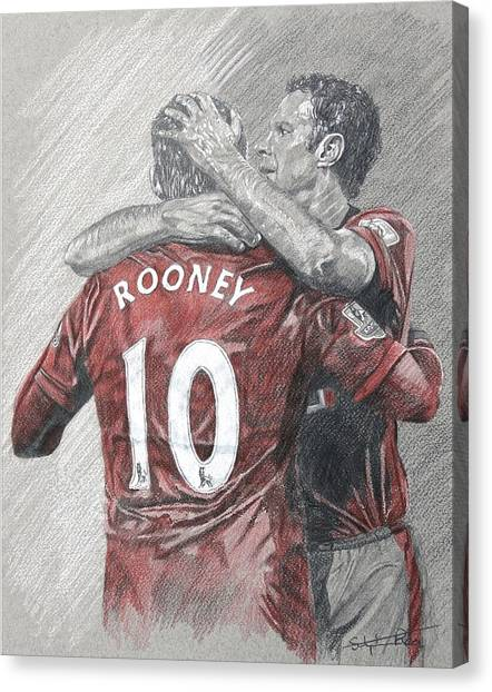 Wayne Rooney Canvas Print - Rooney And Giggs by Stephen Rea