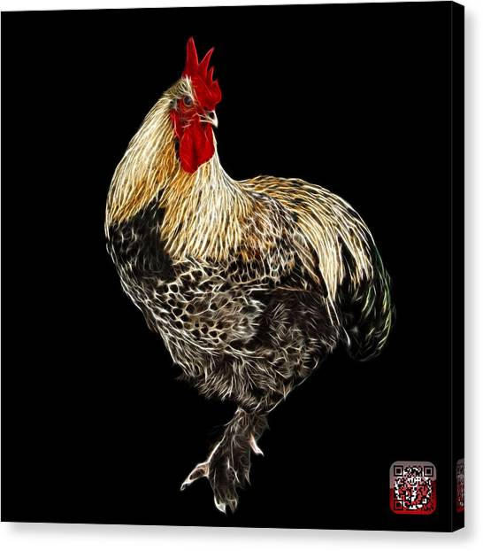 Canvas Print featuring the painting Rooster 3166 F by James Ahn