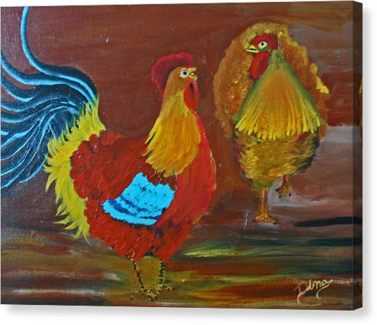 Rooster And Hen Canvas Print by Dina Jacobs