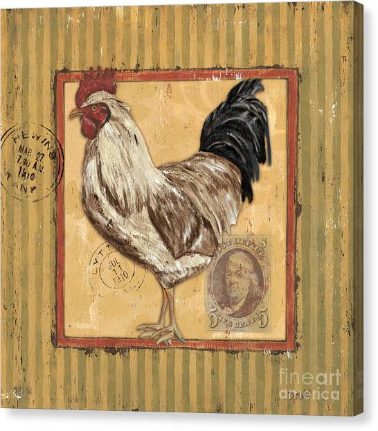 Gold Canvas Print - Rooster And Stripes by Debbie DeWitt