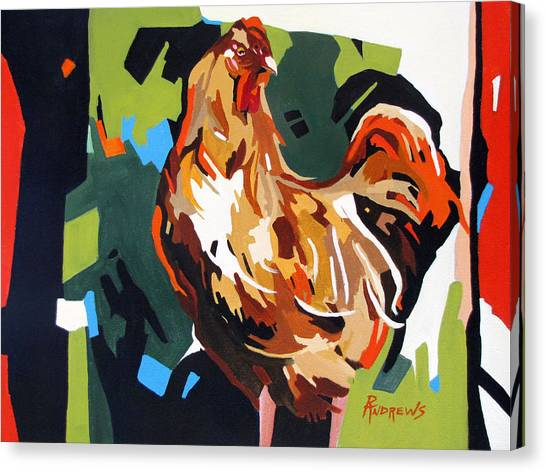 Rooster Design In Acrylic Canvas Print by Rae Andrews
