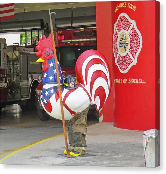 Rooster Fireman Canvas Print