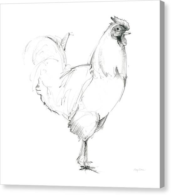 Chicken Farms Canvas Print - Rooster II Dark Square by Avery Tillmon