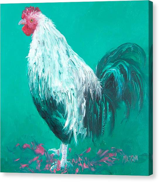 Country Kitchen Decor Canvas Print - Sebastian The Rooster by Jan Matson