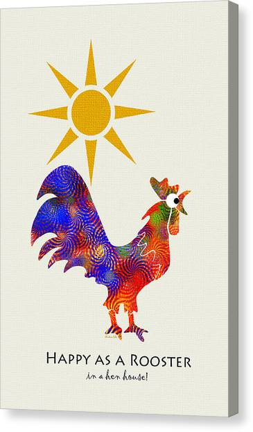 Chicken Canvas Print - Rooster Pattern Art by Christina Rollo