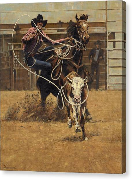 Lassos Canvas Print - Rodeo Roping Young Steer by Don  Langeneckert