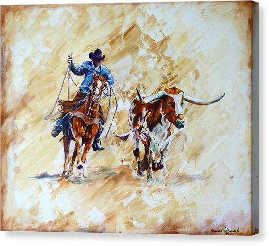Roping The Doggie Canvas Print