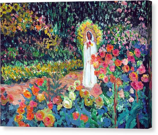 Rosa Mistica In Monet's Garden Canvas Print