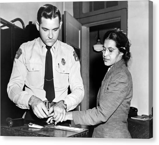 Police Officers Canvas Print - Rosa Parks Gets Fingerprinted by Underwood Archives