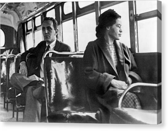 Rights Canvas Print - Rosa Parks On Bus by Underwood Archives