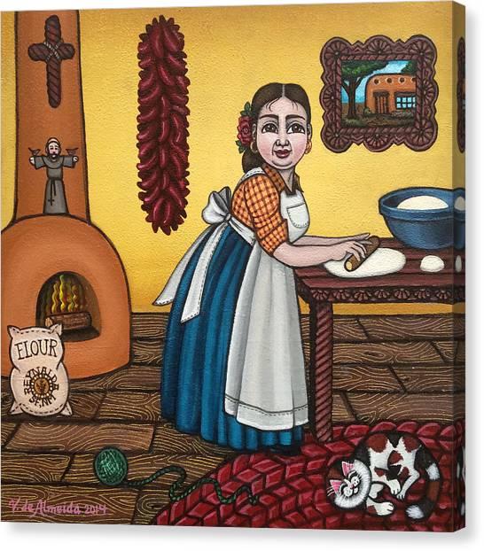 Grandma Canvas Print - Rosas Kitchen by Victoria De Almeida