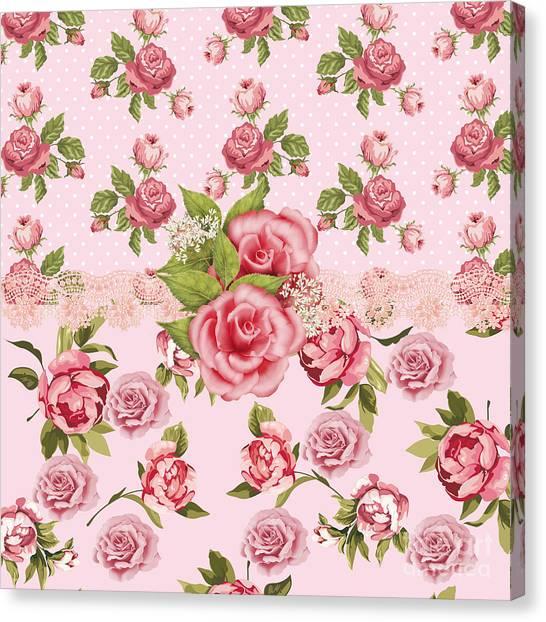 Pattern Canvas Print - Rose Elegance by Debra  Miller