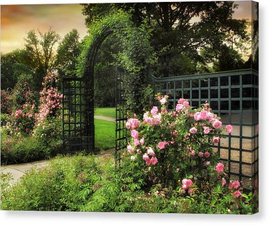 Summer Canvas Print - Rose Garden Gate by Jessica Jenney