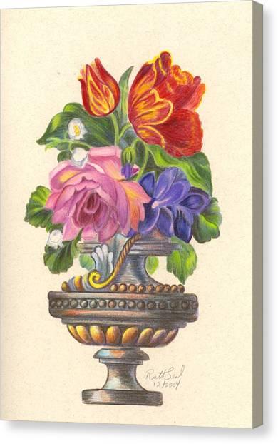 Rose In Antique Vase Canvas Print