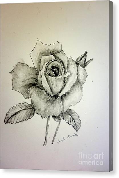 Rose In Monotone Canvas Print